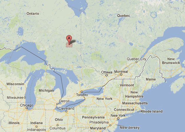 The team found the trapped water beneath a mine near Timmins, Ontario, shown in red on this map.