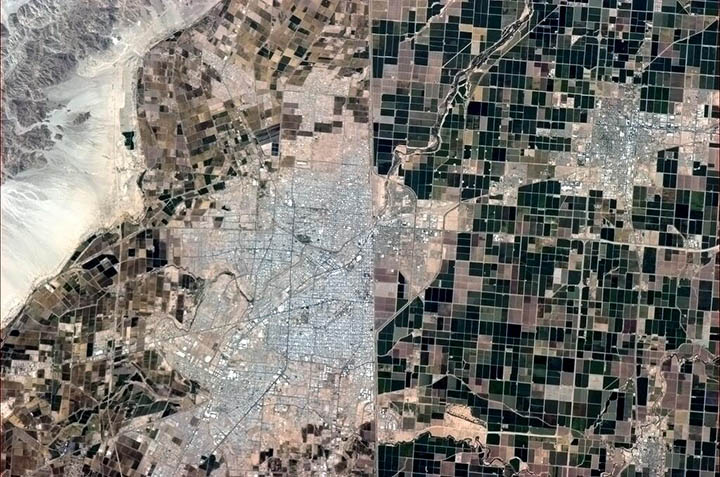 'Same land, different politics. The US - Mexican border, seen from space.' Photo credit: Chris Hatfield/NASA