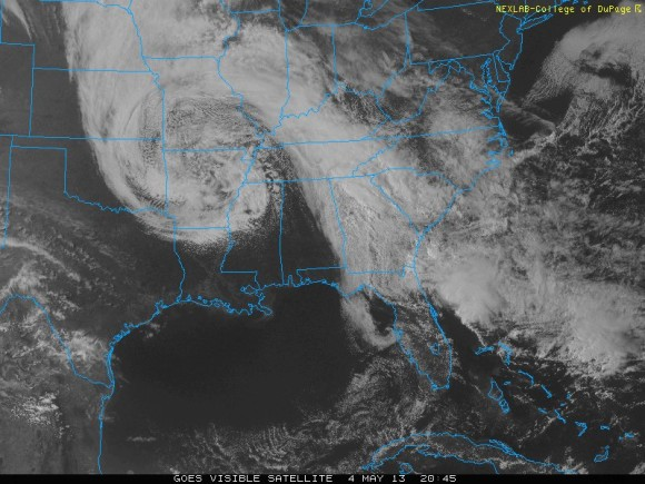 Upper level low responsible for the chilly weather across the Southeast on May 4, 2013. Image Credit: NOAA