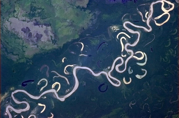 'I'm used to rivers that know what they're doing. Rio Beni, NW Bolivia.' Photo credit: Chris Hadfield/NASA
