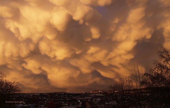 Berit Roaldseth in Trondheim, Norway saw these mammtus clouds after a rain shower on April 12, 2014.