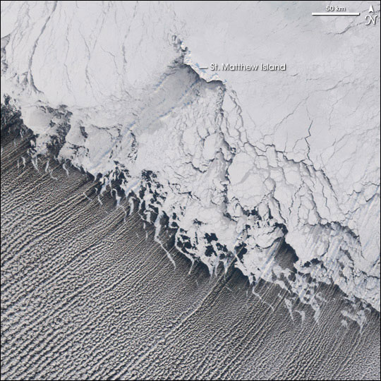 Thin parallel lines of clouds extending from ice shelf in black-and-white orbital photo.