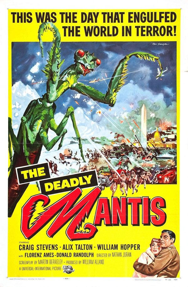 Poster for the film The Deadly Mantis (1957) by artist Reynold Brown, via Wikimedia Commons.