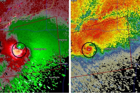 A dangerous tornado was depicted through radar as a debris ball developed indicating debris lofted into the air from a tornado. This is the storm that caused significant damage to Swanee, Oklahoma.