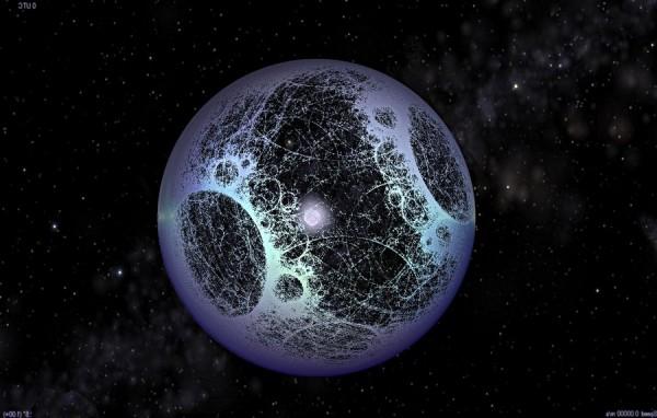 View larger. | Artist's concept of a Dyson sphere via SentientDevelopments.com