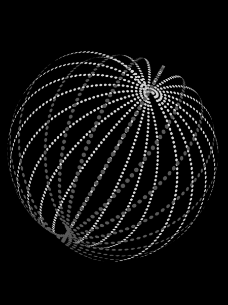 Many rings of white dots forming a sphere.