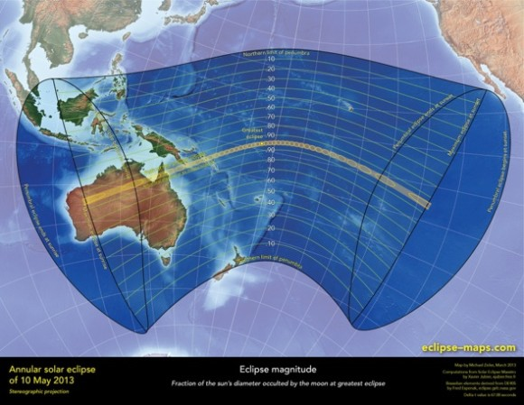 May 10, 2013 annular eclipse of the sun, visible in Australia and into the South Pacific.