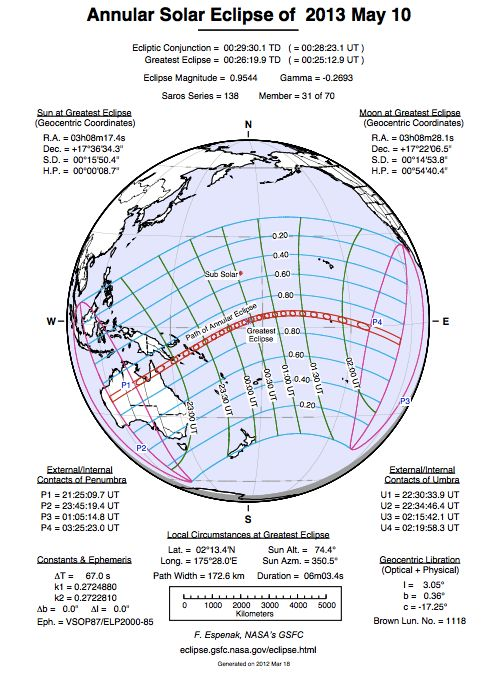 Details of annular eclipse of May 10, 2013 via Fred Espenak.
