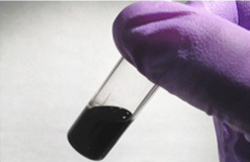 A vial of prepared graphene ink. Reprinted with permission from the Journal of Physical Chemistry Letters. Copyright 2013 American Chemical Society.