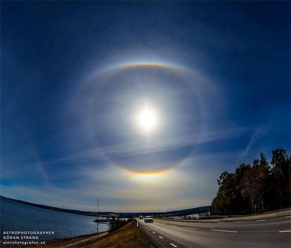 Bright sun with eye-shaped halos around it.