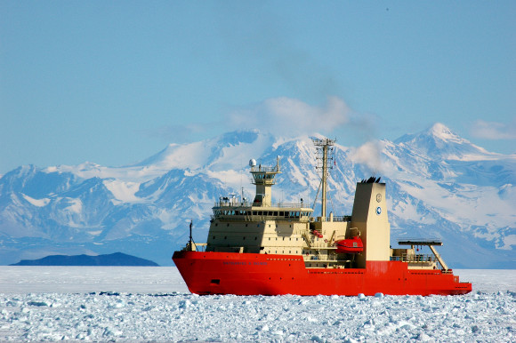The research vessel Nathaniel B. Palmer in McMurdo Sound, Antarctica, in 2011.  Photo credit: Peter Rejcek / NSF
