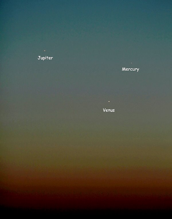 Jupiter, Venus and Mercury seen last night - May 25, 2013 - over Oklahoma. Photo by EarthSky Facebook friend Mike O'Neal.