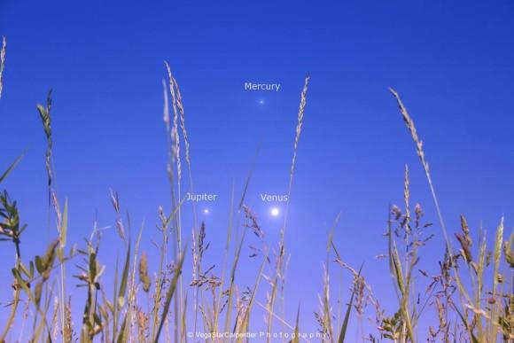 The planetary trio as seen last night by EarthSky Facebook and Google+ friend VegaStar Carpentier.  Thanks, VegaStar!