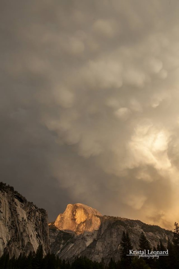 Mammatus clouds over Half Dome in Yosemite National Park on June 2, 2013 by  friend Kristal Leonard.  Thank you, Kristal!