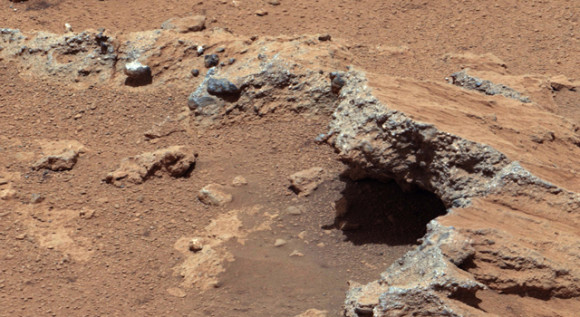 Pebbly rocks testify to an old streambed on Mars. NASA's Curiosity rover found evidence for an ancient, flowing stream on Mars at a few sites, including the rock outcrop pictured here, which the science team has named