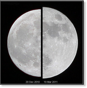 Composite image of half moons next to each other, the one on the right (a supermoon) larger than the one to the left.