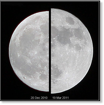 The moon's apparent size in our sky depends on its distance from Earth.  The supermoon of March 19, 2011 (right), compared to an average moon of December 20, 2010 (left).  Image by Marco Langbroek of the Netherlands via Wikimedia Commons.