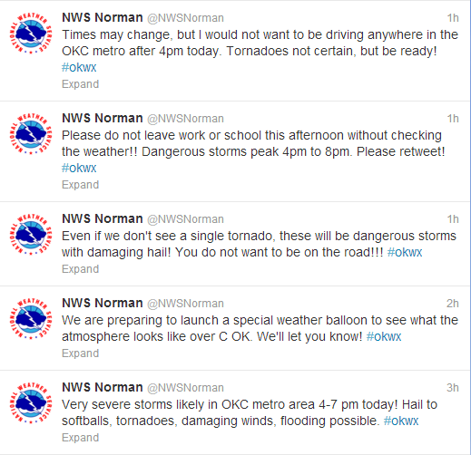 The Norman, Oklahoma NWS office has been extremely active on twitter alerting everyone of the upcoming storms.