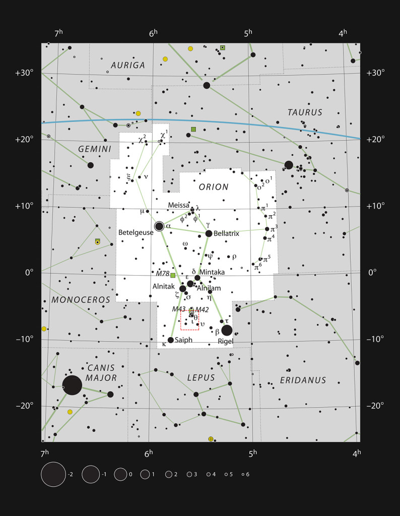Star chart of Orion in black on white with circles showing stellar magnitude.