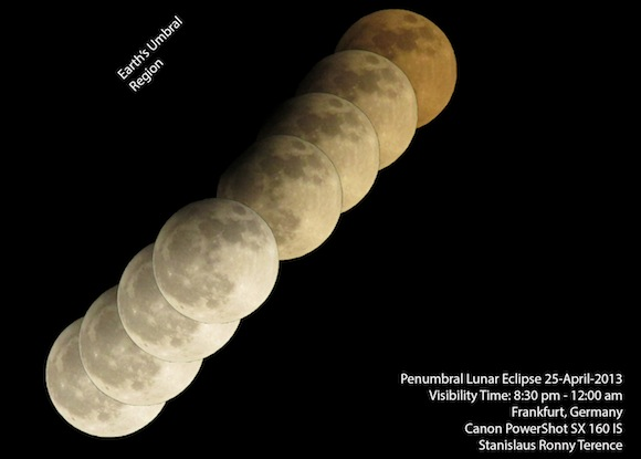 Penumbral lunar eclipse on April 25, 2013