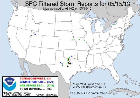 Preliminary storm reports on May 15, 2013. Image Credit: Storm Prediction Center