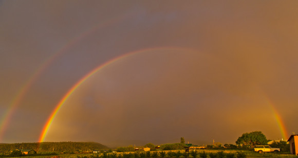 Richard Hasbrouck in Truchas, New Mexico caught this glorious double rainbow at sunset on June 7.