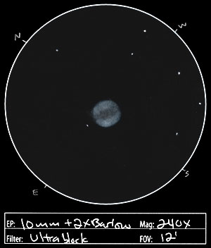 And here's what the Ring Nebula looks like to the eye, as seen through an amateur telescope. This image is not a photo. It's a drawing from a superb astronomical artist, Jeremy Perez at the wonderful Belt of Venus website.