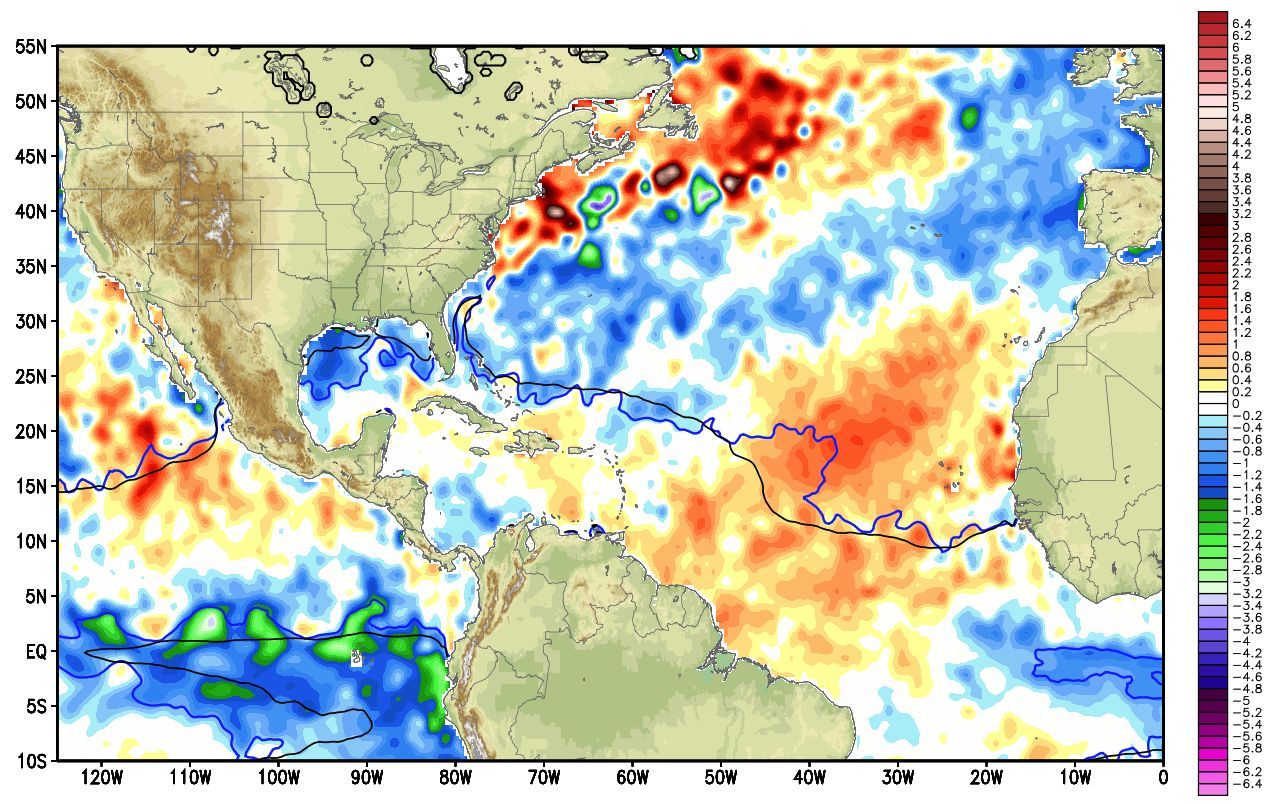 View larger. | Sea surface temperature anomalies for the Atlantic ocean. Image via Weatherbell