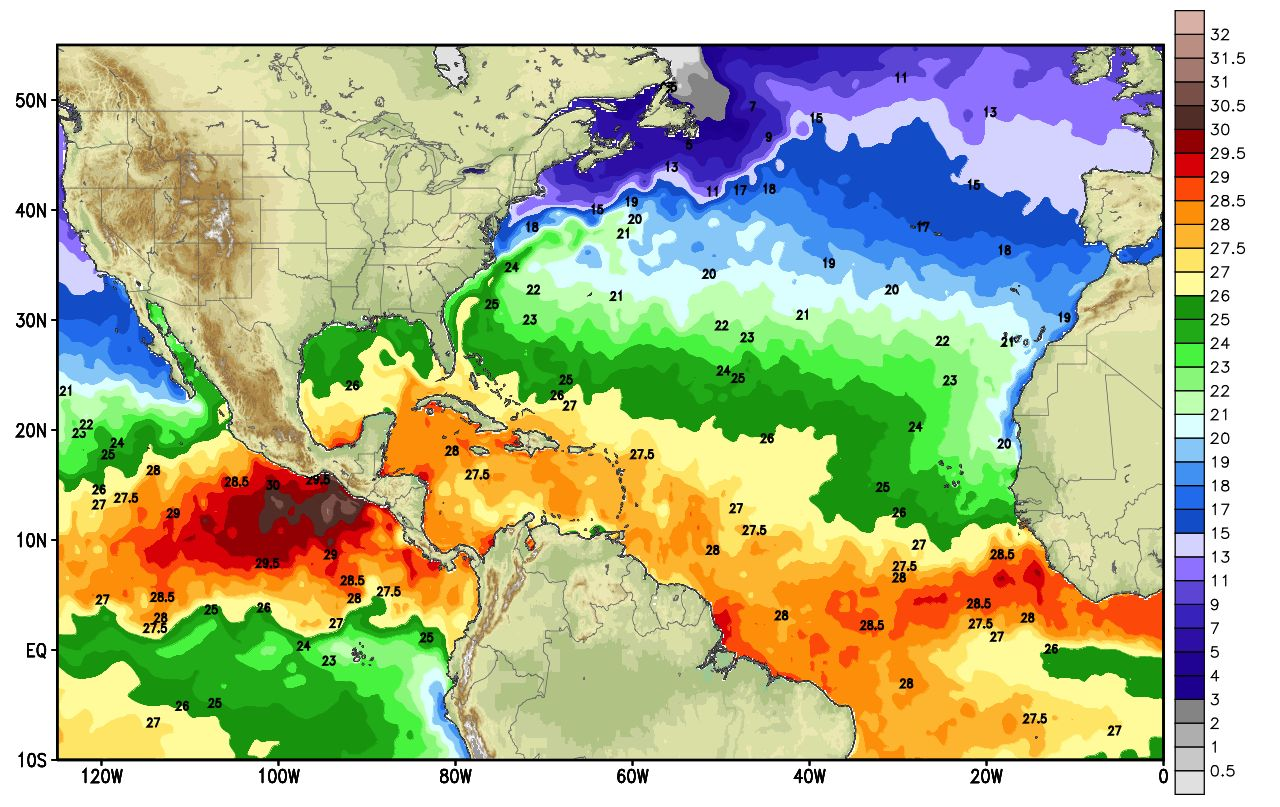 View larger. | Current sea surface temperature as of May 24, 2013 in degrees Celsius. Image via Weatherbell.