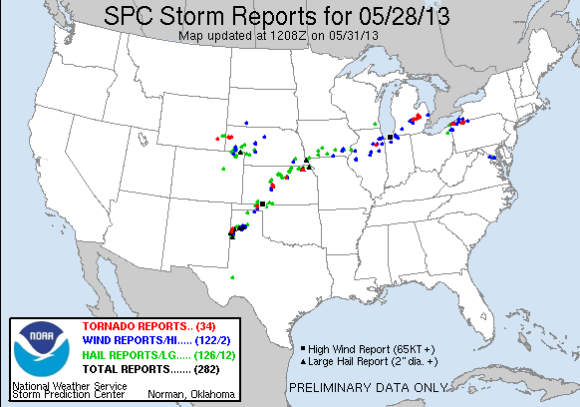 Preliminary severe weather reports on May 28, 2013. Image Credit: Storm Prediction Center