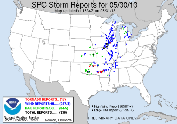 Preliminary severe weather reports on May 30, 2013. Image Credit: Storm Prediction Center