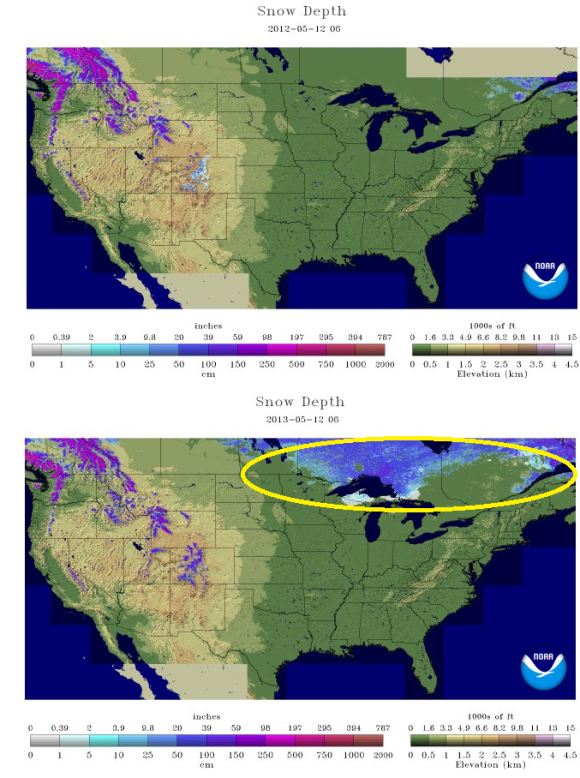 In 2012, it was difficult to find any snow across Canada or the U.S. unless you were in the mountains. Not the case in 2013! Image Credit: NOAA/National Snow Analyses