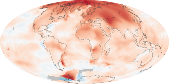 Global temperature anomalies. This map is comparing temperatures in the years 2000 to 2009 to the norms for the various regions from 1951 to 1980. You can see that - during this period - the Arctic warmed more dramatically than other parts of the globe. Image via NASA.