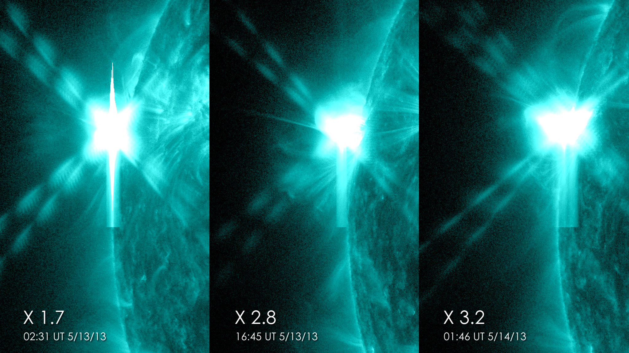 Three X-class flares in 24 hours