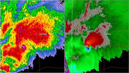 A radar image of the supercell that produced the 2011 Joplin tornado. Base reflectivity is on the left and storm relative velocity on the right. The area of high reflectivity just to the right of the Joplin label is debris lofted into the air by the tornado.