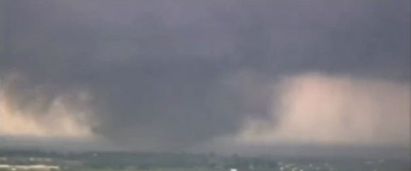 Mile-wide tornado spent over an hour on the ground in Moore, Oklahoma, a suburb of Oklahoma City, on May 20, 2013. Image is a video still from CBS News.