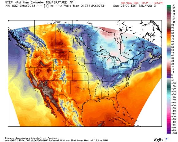 Very cold temperatures are occurring in the eastern U.S. However, not true for parts of western U.S. and Canada. Image Credit: Weatherbell