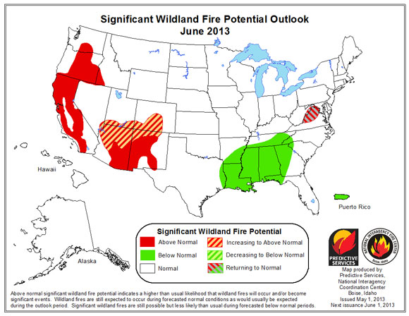 Higher Wildfire Activity Expected For Western Us In 2013 Earth - Us-wildfire-activity-map