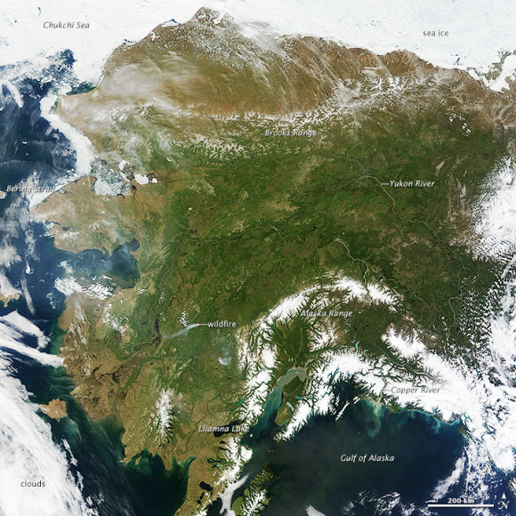 Rare picture to see Alaska with no clouds across the state. It helps explain why temperatures have been so warm over the past several days. Image Credit: NASA image courtesy Jeff Schmaltz, LANCE MODIS Rapid Response Team at NASA GSFC. Caption by Adam Voiland