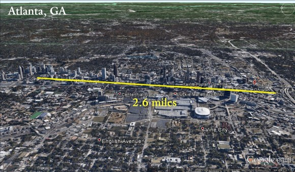 View of Atlanta, Georgia if a 2.6 mile wide tornado was over the city. Image Credit: Jared Rackley