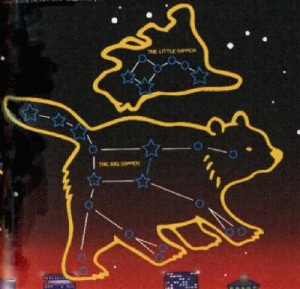 Outlines of a big bear and a small bear with stars connected by lines in them.