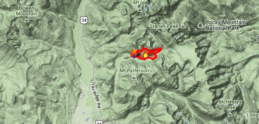 Big Meadows wildfire covers 604 acres. Image Credit: Google