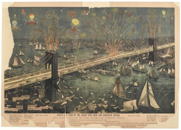 Bird's-Eye View of the Great New York and Brooklyn Bridge and Grand Display of Fire Works on Opening Night via Wikimedia Commons.