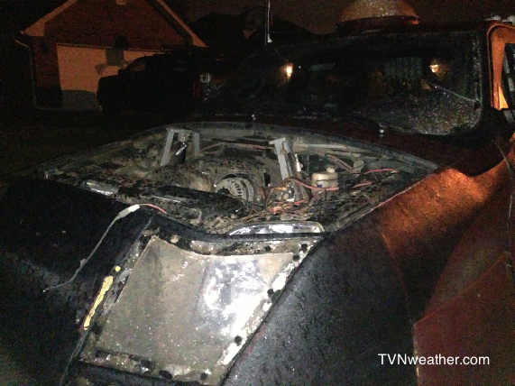 The Dominator, driven by Reed Timmer and his crew, encountered damage during the nasty storms on May 30, 2013. Image Credit: Reed Timmer