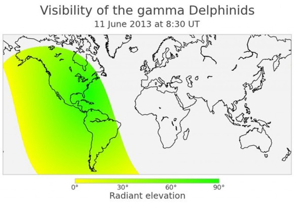 North and South America are well placed for viewing a possible outburst Gamma Delphind meteors on the morning of June 11, 2013. Map via AstroBob.