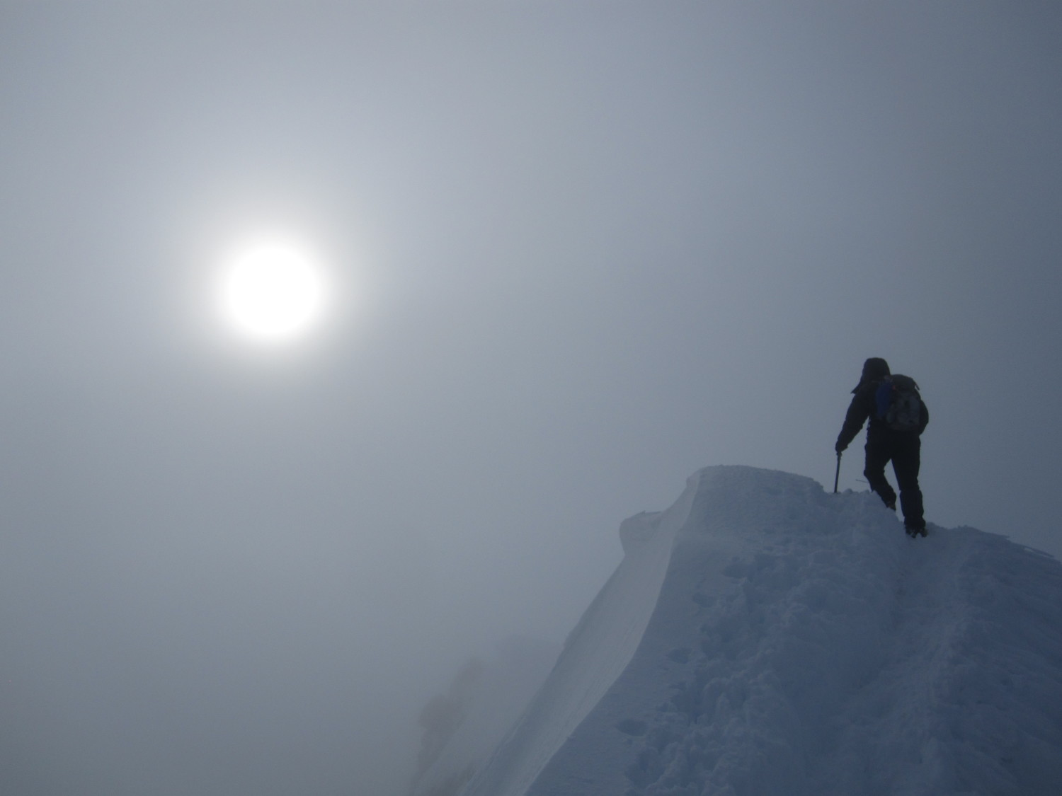 Unknown climber views the summit on Mount Hood, June 1, 2013, by Thomas Poremba.  Thank you, Thomas!