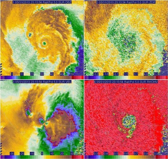 Mobile radar image showing the El Reno tornado. It looks like a hurricane! Image Credit: University of Oklahoma