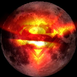 A merge of two images: moon from Wikimedia Commons and Superman emblem came from layoutsparks.com