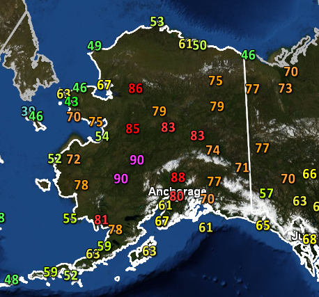 Temperatures across Alaska on June 18, 2013.