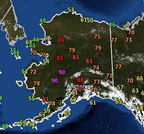 Temperatures across Alaska on June 18, 2013.
